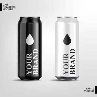 Pode realista cerveja de alumínio preto e branco de metal brilhante vazio