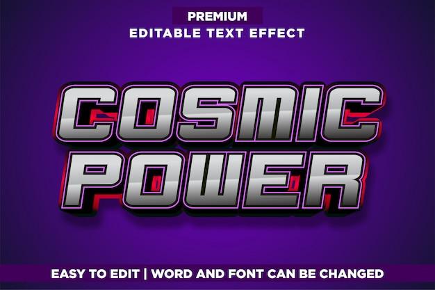 Poder cósmico, efeito de texto em estilo de logotipo editável para jogos