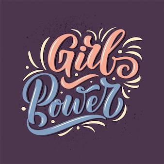 Poder de menina - citação de letras. elemento de tipografia de design gráfico de inspiração de caligrafia. escrito a mão
