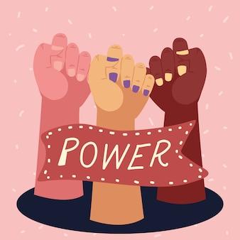 Poder feminino, diversidade feminina levantando as mãos e estandartes