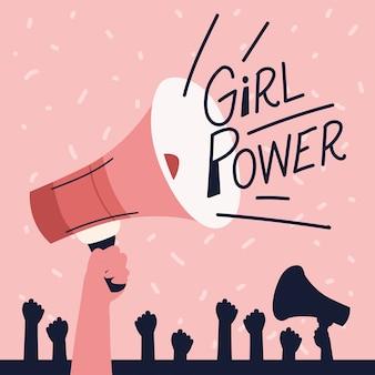 Poder feminino, feminismo de mãos erguidas em megafone