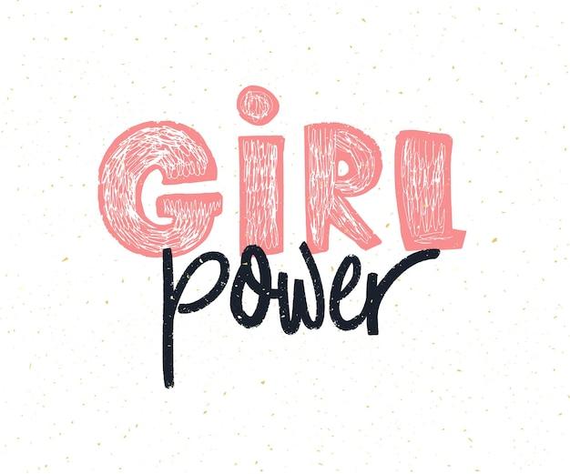 Poder feminino. legenda de feminismo de letras de mão. slogan feminista.