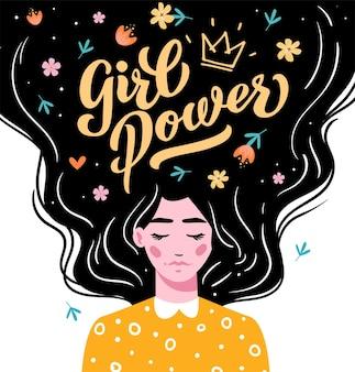 Poder feminino. letras de vetor. garota com cabelo comprido, com texto. mão desenhada cabelo comprido linda garota. ilustração vetorial moderna. modelo para cartões, saudações, panfleto, banner.