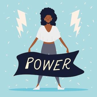 Poder feminino, mulher afro-americana com mensagem de poder na faixa de opções