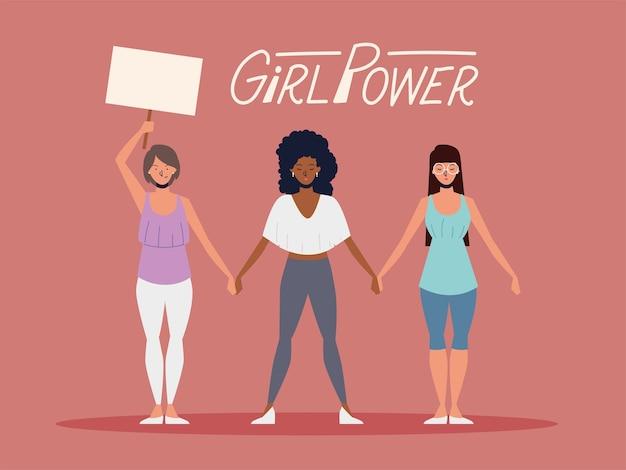 Poder feminino, mulheres com cartaz e de mãos dadas