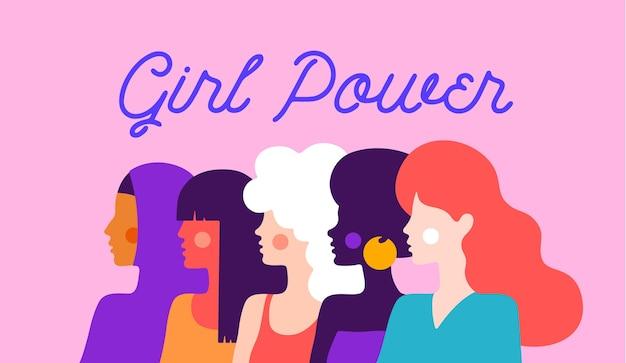 Poder feminino. personagem plana moderna.