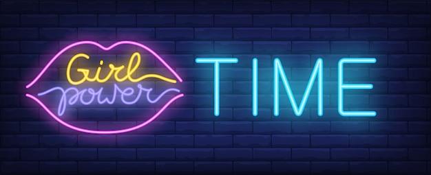 Poder menina, tempo, sinal néon