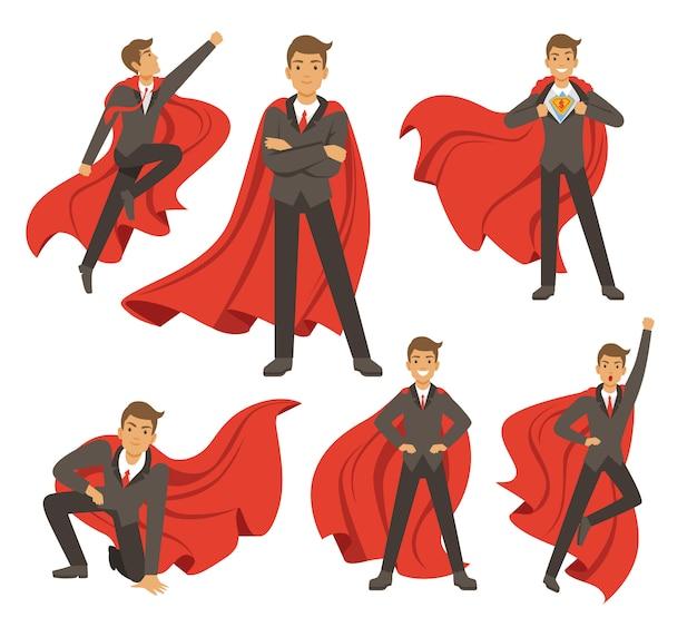 Poderoso empresário em poses de super-herói de ação diferente.