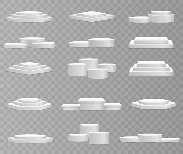 Pódio 3d branco em formas diferentes. Vetor Premium