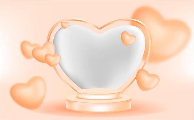 Pódio 3d com enfeite de amor com cor laranja