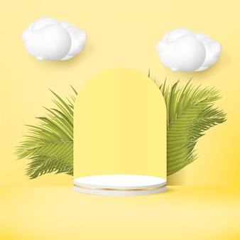 Pódio 3d com folhas de palmeira e nuvem em fundo amarelo