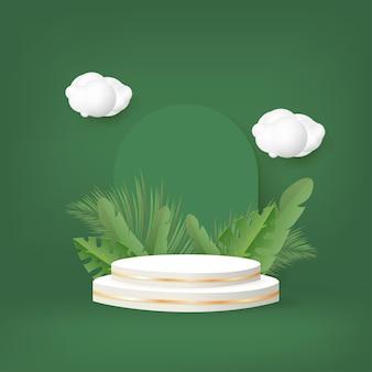Pódio 3d com folhas de palmeira e nuvem sobre fundo verde