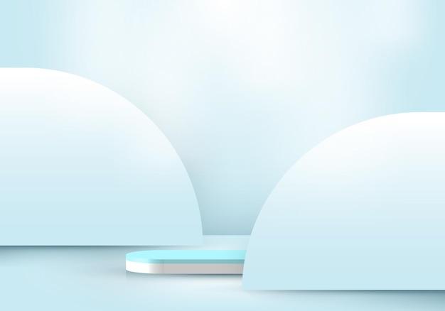 Pódio 3d de pedestal branco realista com fundo arredondado em tons pastel azul e iluminação para apresentação de exposição de produtos. ilustração vetorial
