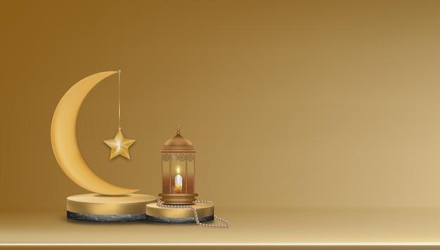 Pódio 3d islâmico com lua crescente de ouro rosa, lanterna islâmica tradicional, contas do rosário, vela.