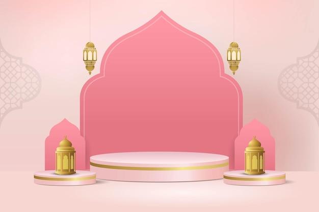 Pódio 3d mínimo islâmico para exibição de produtos