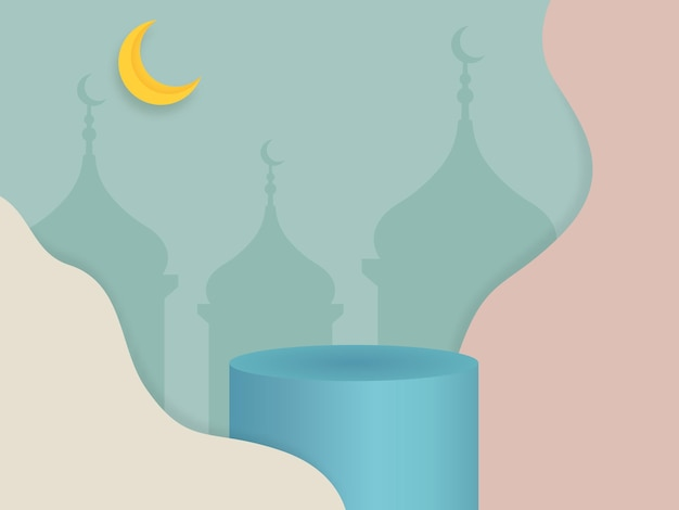 Pódio 3d ramadã para exibição de produtos