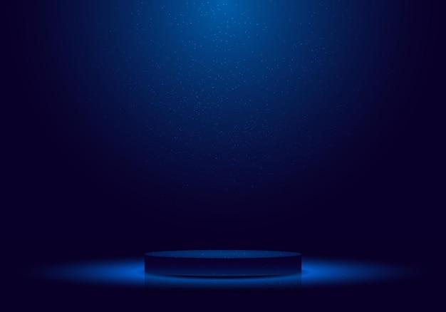 Pódio 3d realista em azul escuro com iluminação e cena mínima de brilho para cerimônia de premiação, concerto, local vencedor para apresentação. ilustração vetorial