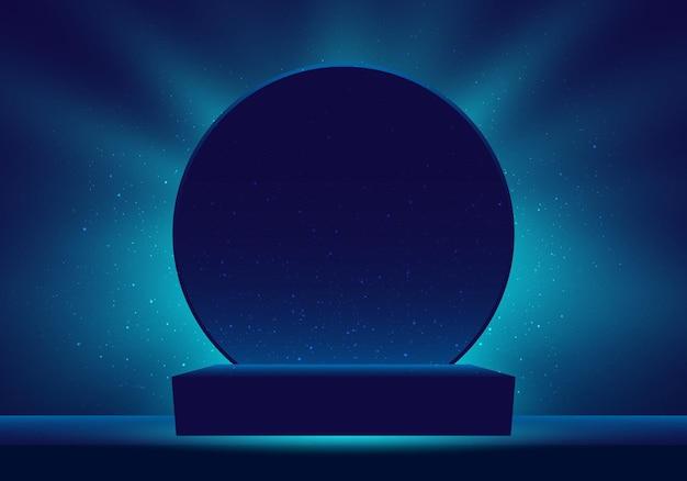 Pódio 3d realista em azul escuro com iluminação iluminada e cena mínima de brilho e cenário de círculo para cerimônia de premiação, concerto, local vencedor para apresentação. ilustração vetorial