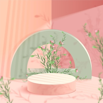 Pódio 3d realista em tons pastel