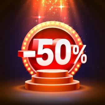Pódio 50 de desconto com percentual de desconto de ações. ilustração vetorial