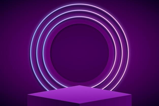 Pódio abstrato com luzes
