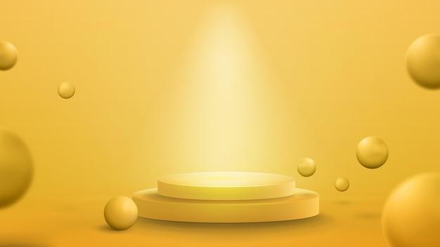 Pódio amarelo vazio com iluminação de holofotes e bolas quicando realistas. ilustração 3d render com sala abstrata amarela com esferas 3d amarelas