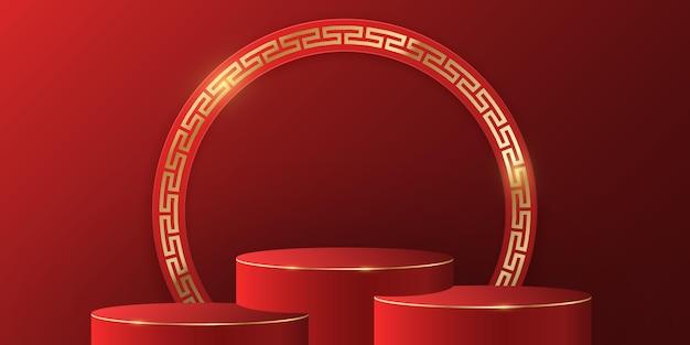 Pódio asiático com parede vermelha para exposição de seus produtos. ano novo chinês. moldura dourada com padrão