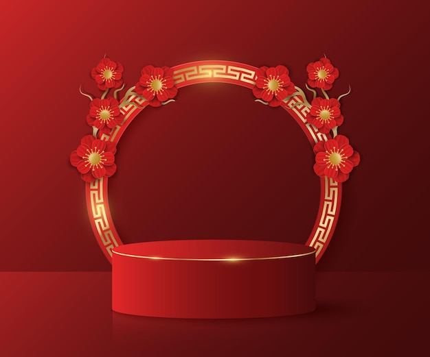 Pódio asiático para exibir seus produtos. árvore com flores vermelhas. design de ano novo. quadro com padrão