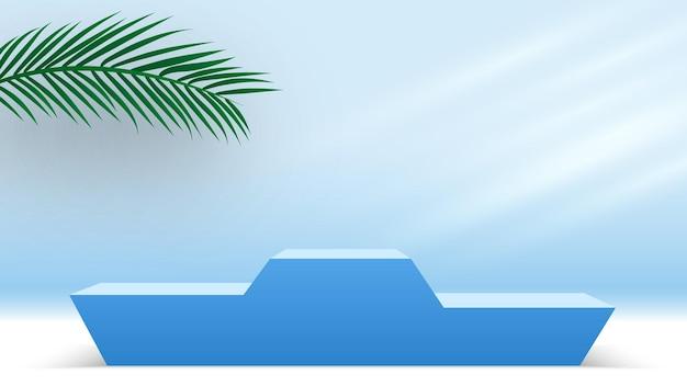 Pódio azul com folhas de palmeira pedestal em branco produtos cosméticos plataforma de exibição 3d render palco