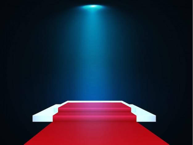 Pódio bonito no fundo escuro com os vencedores do inscription.podium com luzes brilhantes. holofote. iluminação. ilustração.