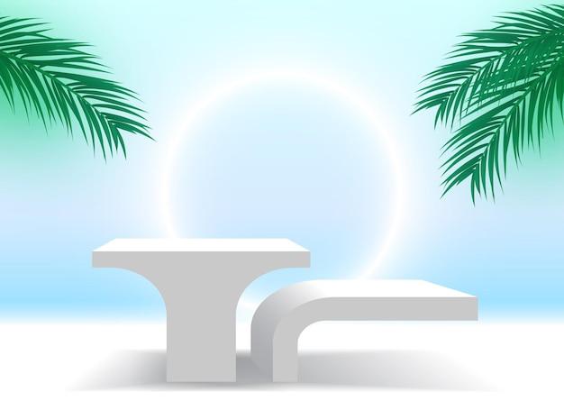 Pódio branco com folhas de palmeira e plataforma de exibição de produtos cosméticos com pedestal de anel brilhante