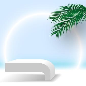 Pódio branco com folhas de palmeira pedestal produtos cosméticos plataforma de exibição 3d render palco
