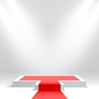 Pódio branco com tapete vermelho pedestal vazio com focos plataforma de exposição de produtos