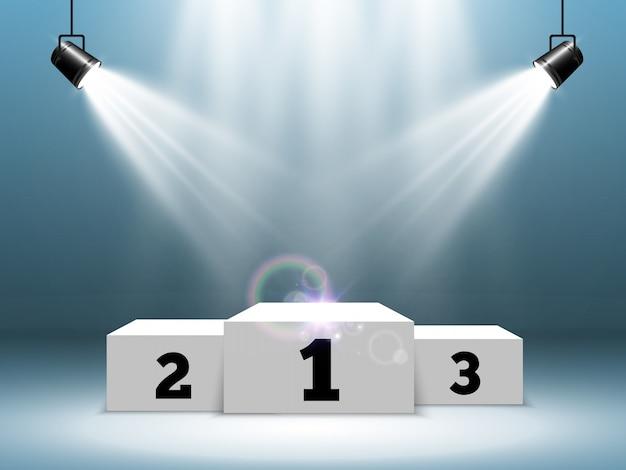 Pódio branco ou plataforma com holofotes. um pedestal para recompensar os vencedores.