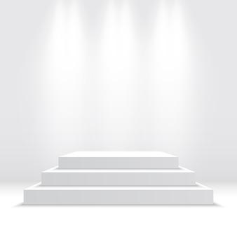 Pódio branco. pedestal. cena. ilustração.
