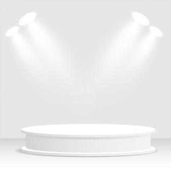 Pódio branco, pedestal, plataforma, spotlight