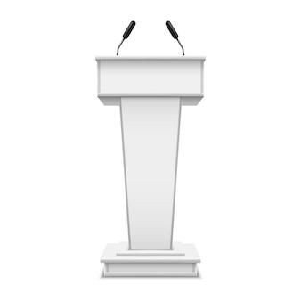 Pódio branco realista com microfone ou púlpito com microfone, tribuna de debate ou tribuna de fala. plataforma para conferencista ou imprensa, palestra ou seminário, apresentação, comunicação. arquibancada