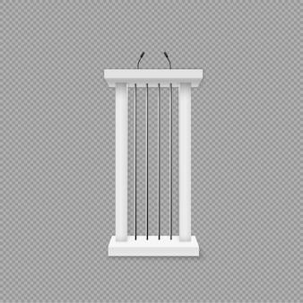 Pódio branco, tribuna com microfones.