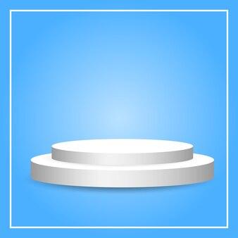Pódio circular branco de pedestal em branco sobre fundo de iluminação gradiente azul para exposição de produtos