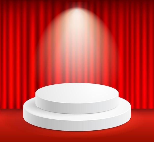 Pódio com cortinas vermelhas no palco