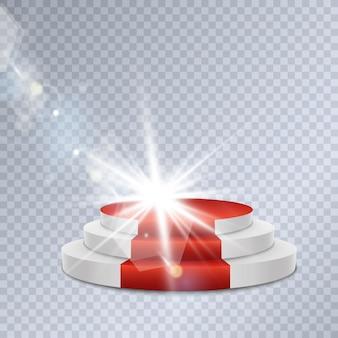 Pódio com efeitos de iluminação. cena para a cerimônia de premiação. ilustração. pódio à luz das estrelas e holofotes.