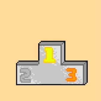 Pódio com estilo pixel art