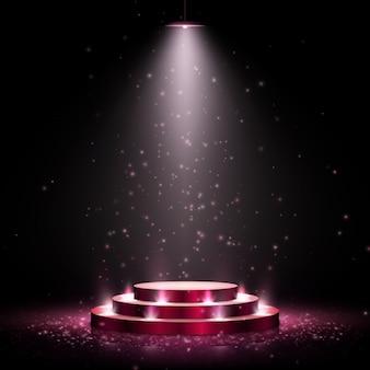 Pódio com iluminação. cena com cerimônia de premiação em fundo escuro. ilustração.