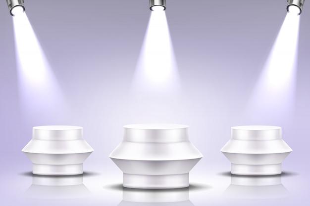Pódio com iluminação holofotes, palco redondo