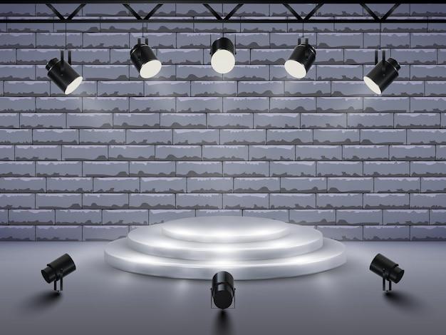 Pódio com iluminação. palco, pódio, cena para cerimônia de premiação com holofotes.