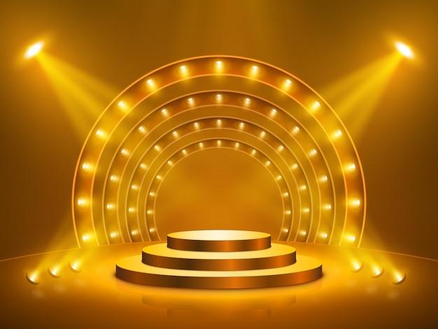 Pódio com iluminação. palco, pódio, cena para cerimônia de premiação. ilustração.