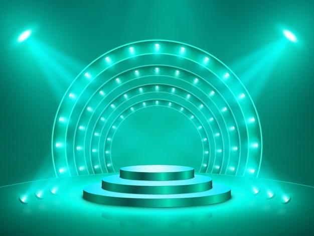 Pódio com iluminação. palco, pódio, cena para cerimônia de premiação.