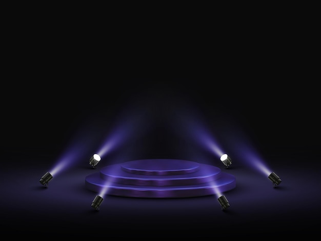Pódio com iluminação. palco, pódio com holofotes.
