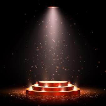 Pódio com iluminação