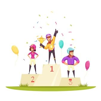 Pódio com jóqueis, balões e confetes
